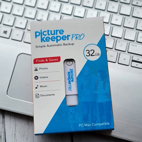 picture keeper pro box sitting on a laptop