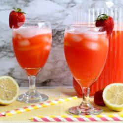 2 large glasses of Strawberry Lemonade