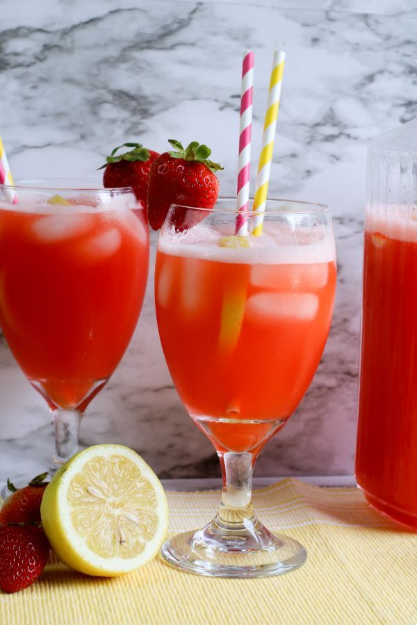 2 glasses of fresh Sugar Free Strawberry Lemonade