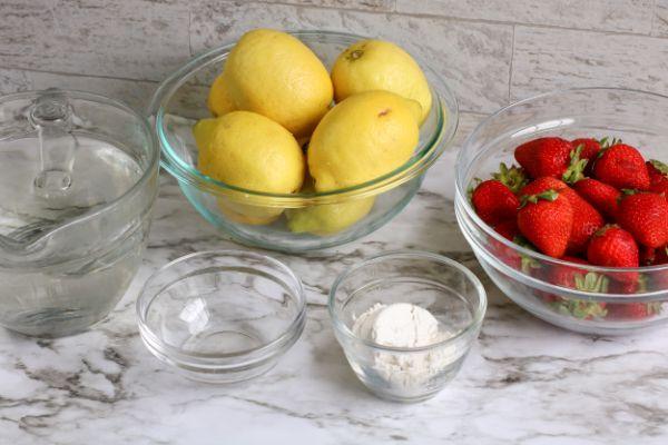 ingredients for Sugar Free Strawberry Lemonade