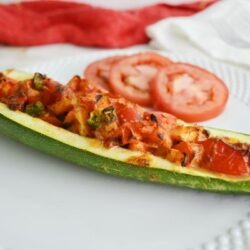 Air fryer zucchini boats with no meat