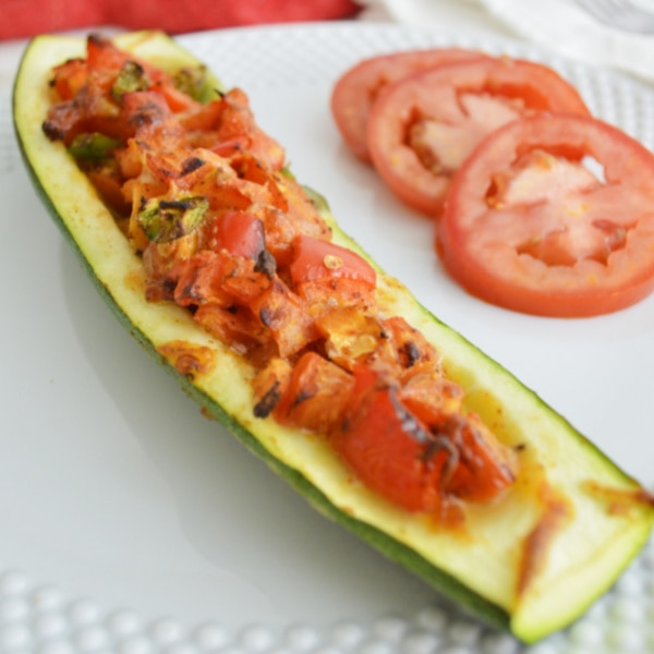 zucchini boat on a plate