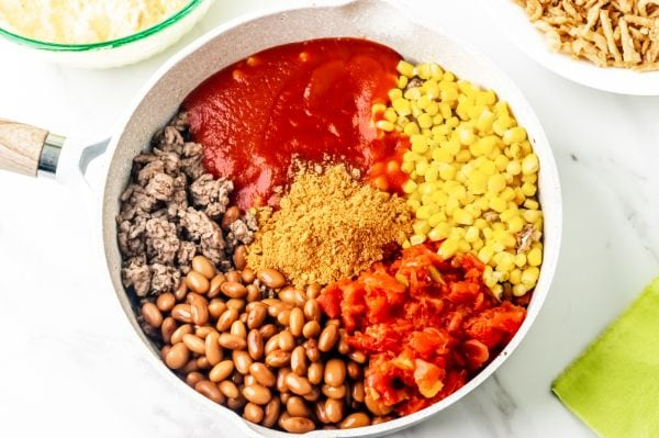 ingredients for cornbread taco bake