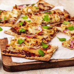 Air Fryer BBQ chicken pizza