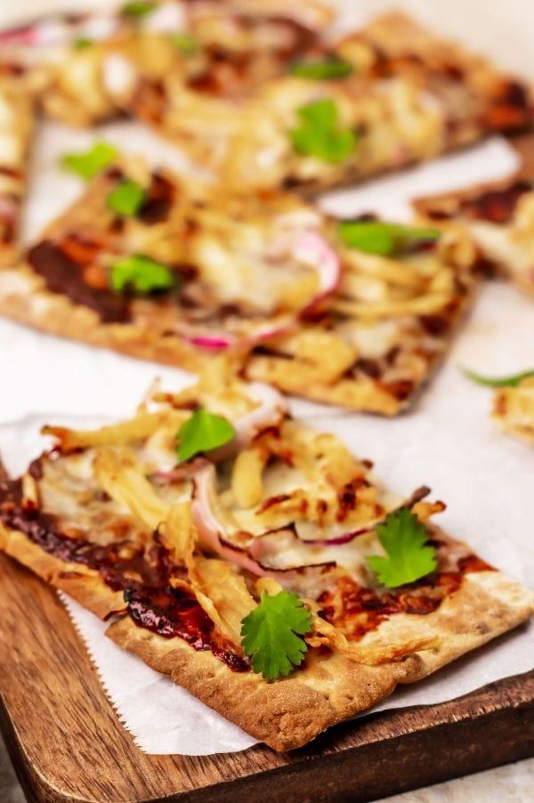Air Fryer BBQ chicken pizza slices