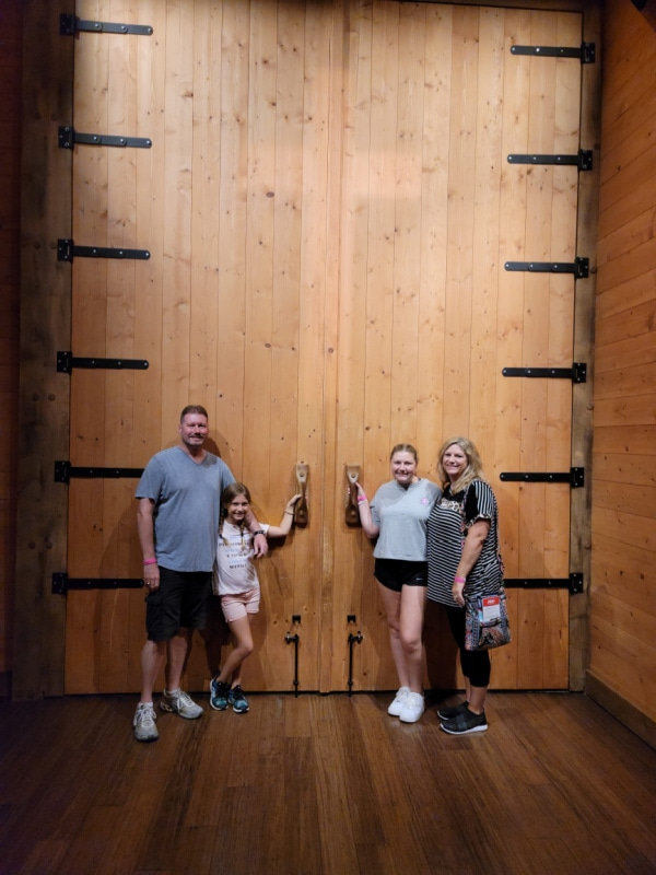 standing in front of the massive doors at the Ark Encounter in Kentucky
