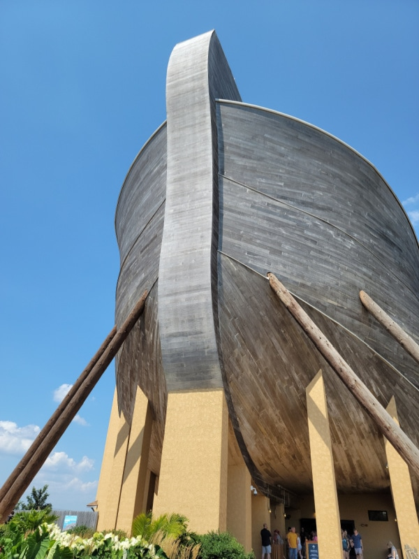 outside the Ark Encounter looking up at the bow of the boat