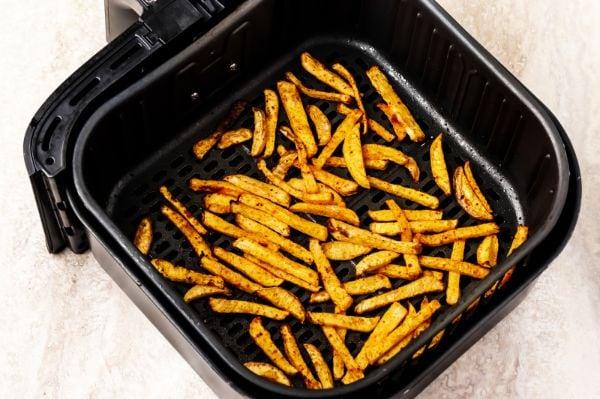 air fried turnip fries in air fryer basket