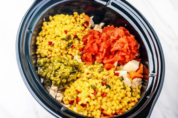 adding ingredients to a crock pot for chicken stew