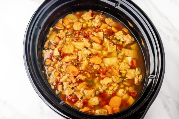 chicken stew recipe in crock pot after it is finished cooking all day